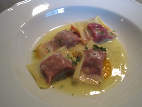 BEETROOT AGNOLOTTI with Chives and Parmesan Butter.