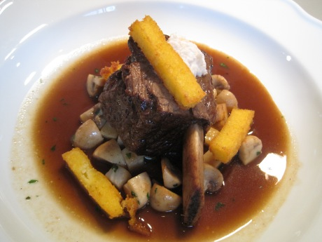 BRAISED BEEF SHORT RIBS with Mushrooms, Polenta Fries, and Horseradish Cream.