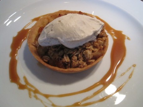 APPLE CRISP TART with Cider Spiced Ice Cream.