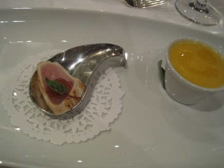 Amuse bouche: Vancouver Island Albacore Tuna Tataki with ponzu pearls + Butternut Squash Soup with curry oil.