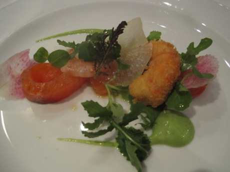Cold Smoked Lois Lake Steelhead with avocado salsa verde, spot prawn beignet.